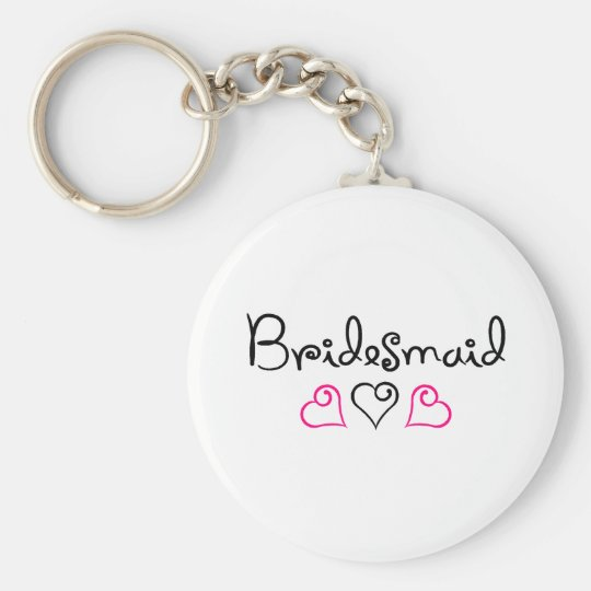 Bridesmaid Pink Black Hearts Basic Round Button Key Ring