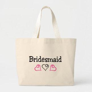 Bridesmaid Pink Black Hearts Jumbo Tote Bag