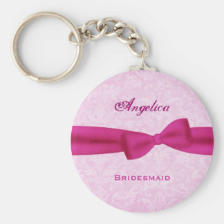Bridesmaid Pink Bow Pink Damask E016 Basic Round Button Key Ring