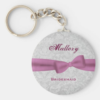 Bridesmaid Pink Bow Silver Damask E004 Basic Round Button Key Ring