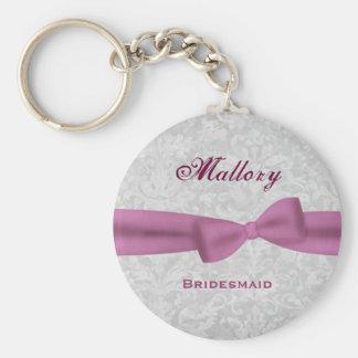 Bridesmaid Pink Bow Silver Damask E004 Key Ring