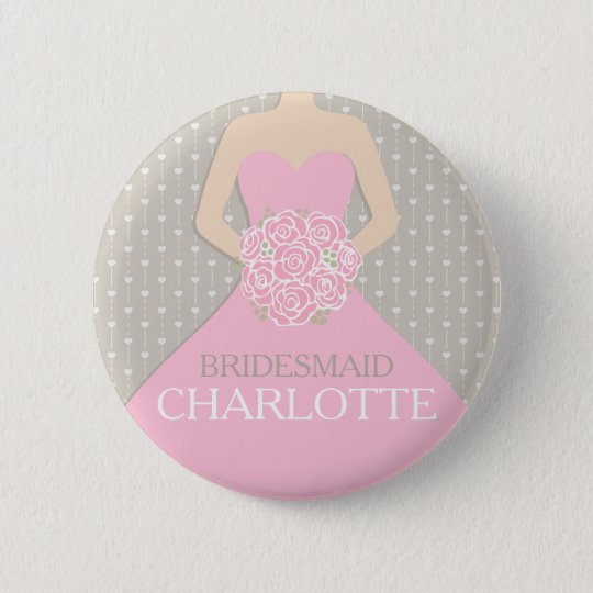 Bridesmaid pink dress named wedding pin button