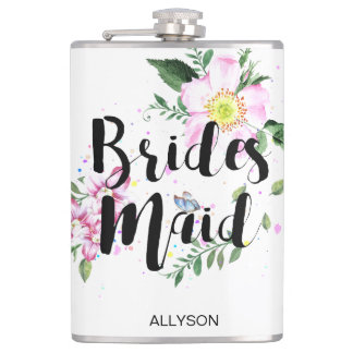 Bridesmaid Pink  Floral Watercolor Bridal Shower Hip Flask