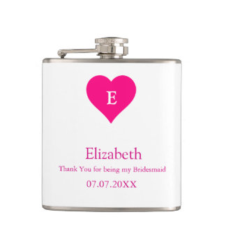 Bridesmaid Pink Heart Custom Gift Hip Flask
