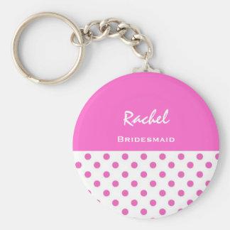 Bridesmaid Pink Polka Dots KC03 Basic Round Button Key Ring