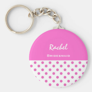Bridesmaid Pink Polka Dots KC03 Key Ring