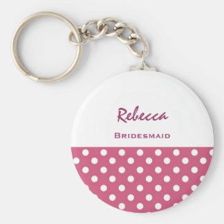 Bridesmaid Pink Polka Dots KC06 Basic Round Button Key Ring