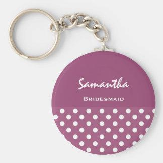 Bridesmaid Pink Polka Dots KC10 Basic Round Button Key Ring