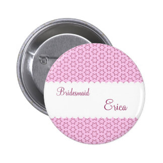 BRIDESMAID Pink Stars and Lace Scallops V08 6 Cm Round Badge