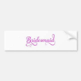 Bridesmaid, pink word art text design for t-shirt car bumper sticker