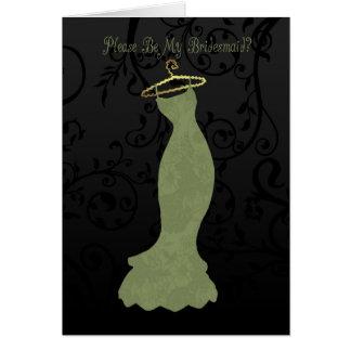 bridesmaid, please be my bridesmaid - green greeting card