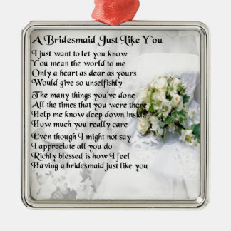 Bridesmaid Poem Wedding Bouquet Silver-Colored Square Decoration