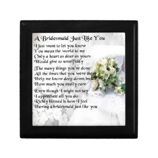 Bridesmaid Poem Wedding Bouquet Small Square Gift Box