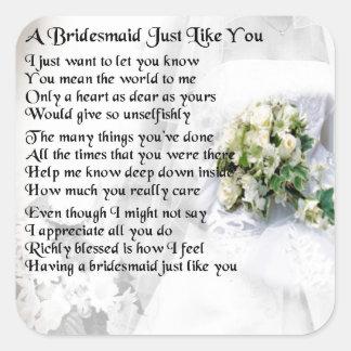 Bridesmaid Poem Wedding Bouquet Square Sticker