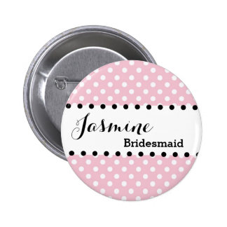 Bridesmaid Polka Dots Wedding Party V02 PINK 6 Cm Round Badge