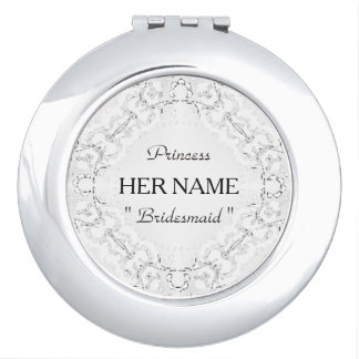 """Bridesmaid Princess_Template_White-Lace_Park-Ave. Compact Mirror"