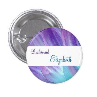 BRIDESMAID Purple and Blue Flower Petals 3 Cm Round Badge