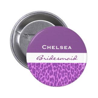 Bridesmaid Purple Leopard V09 6 Cm Round Badge