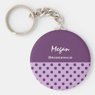 Bridesmaid Purple Polka Dots KC01 Basic Round Button Key Ring