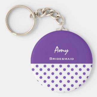 Bridesmaid Purple Polka Dots KC02 Basic Round Button Key Ring