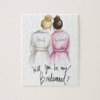Bridesmaid? Puzzle Blonde Bun Bride Dk Br Bun Maid
