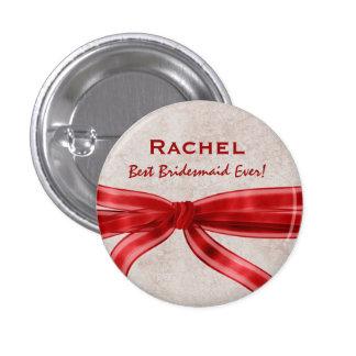 Bridesmaid Red Bow Custom Name V5 3 Cm Round Badge