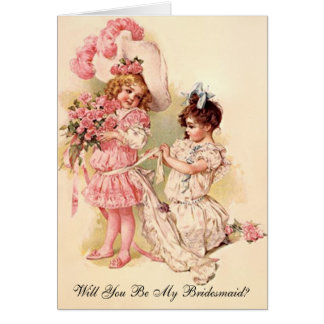 Bridesmaid Request Card Vintage Style Invitation