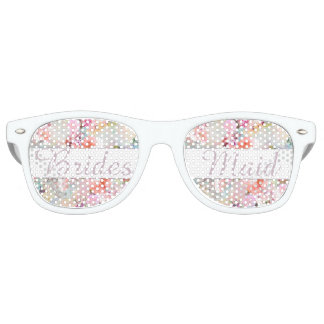 Bridesmaid Romantic Pink Watercolor Chic Floral Retro Sunglasses