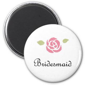 Bridesmaid Rose 6 Cm Round Magnet