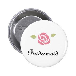 Bridesmaid Rose 6 Cm Round Badge
