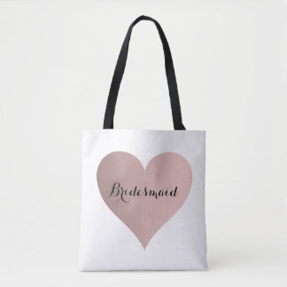 bridesmaid rose gold heart tote bag