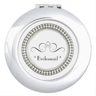 """Bridesmaid "" Round* Silver Ornate II Travel Mirror"