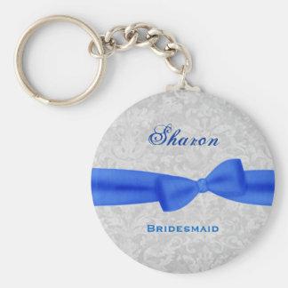 Bridesmaid Royal Blue Bow Silver Damask E011 Key Ring
