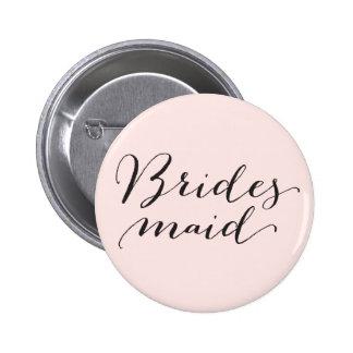 Bridesmaid Script Calligraphy Wedding Bridal Party 6 Cm Round Badge
