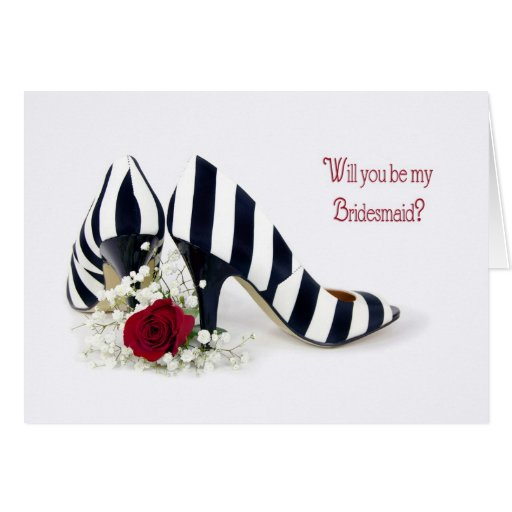 Bridesmaid Shoes and Rose Greeting Card