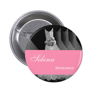 BRIDESMAID Silver Gowns PINK Ribbon F200A2 6 Cm Round Badge