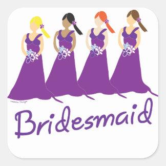 Bridesmaid Square Sticker