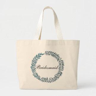 Bridesmaid Steel Blue Vine | Watercolor Wreath Jumbo Tote Bag