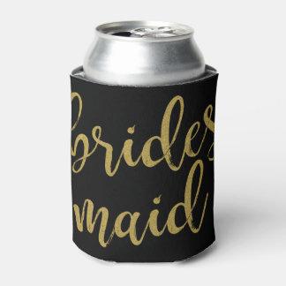 Bridesmaid Stylish Gold Glitter Bachelorette Can Cooler