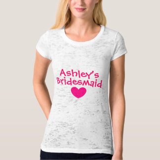 Bridesmaid T Shirt with Pink Heart