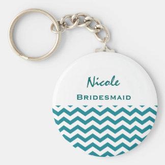 Bridesmaid Teal and White Chevrons V08 Key Ring