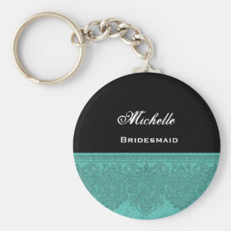 Bridesmaid Teal Damask Ribbon Key Ring