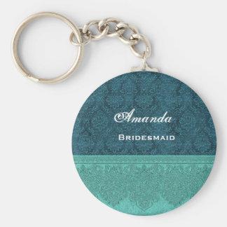 Bridesmaid Teal Damask Ribbon V12 Basic Round Button Key Ring