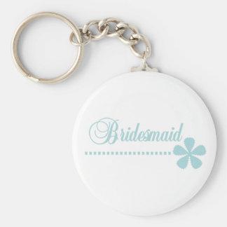 Bridesmaid Teal Elegance Basic Round Button Key Ring