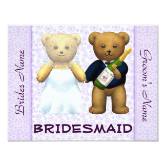 Bridesmaid - Teddy Bears lilac Wedding Invite