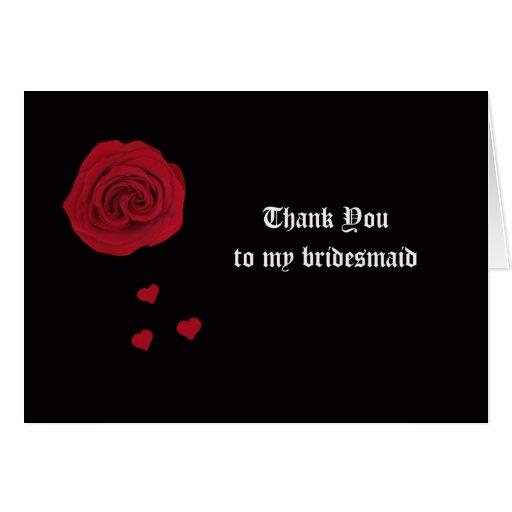 Bridesmaid Thank You Card -- Rose and Hearts