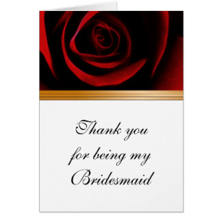 Bridesmaid Thank You Card Roses Are Red
