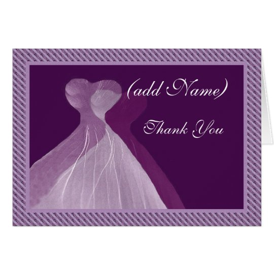 Bridesmaid Thank You - Double PURPLE Gowns Card
