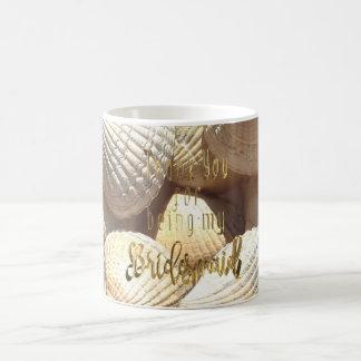 Bridesmaid Thank You Gold Typography Sea Shells Coffee Mug