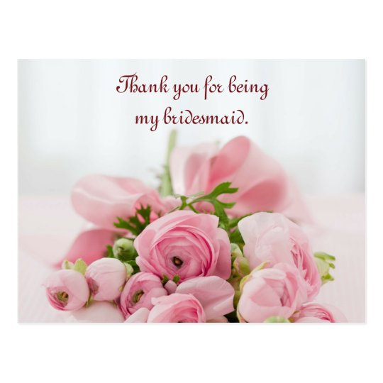 Bridesmaid Thank You Pink Roses Postcard